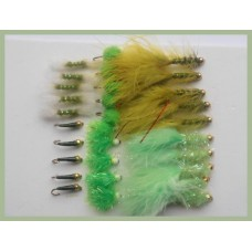 30 Mixed Olive / Green Flies