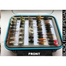96 BOXED BARBLESS FLIES - Wets, Dries, Nymphs, Nymphs, Goldheads - IN BLUE RIM BOX