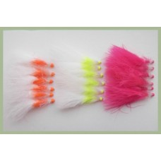 18 Hothead Lures - Two Tone straggle - Orange, Pink, Chartreuse