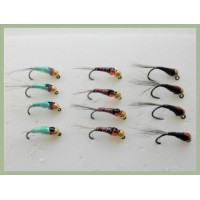 12 BARBLESS Goldhead Jigs - Red Dot, Red Hothead, Black Pearly Dot