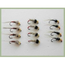 12 BARBLESS Goldhead Jigs -  HE Copper Rib, HE Red Tag, Black Red Head