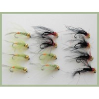 12 BARBLESS Goldhead Jigs -  Black Red Holo and Olive Hackled