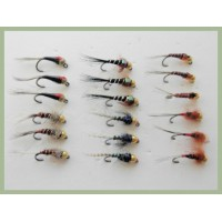 18 Barbless Goldhead Jig Flies - Pearl, Red dot, Red head, Copper rib, Red hothead, Red