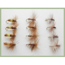 12 Dry Flies - Leckford Professor, Brown Palmer, Caperer