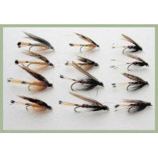 12 Wet Flies - Grouse and Orange, Grouse and Claret