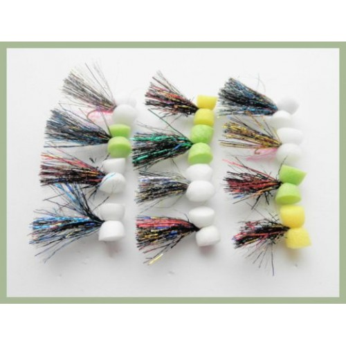 Still Water Fishing Flies 12 Pack Booby Trout Flies Pink Red /& Black Size 10