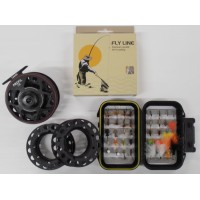 Profil Cassette Reel & Spools PLUS LINE, BACKING & Box of 40 Flies