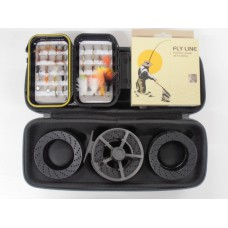 Wychwood SLA MKII Fly Reel with case PLUS LINE & BACKING AND Box of Flies