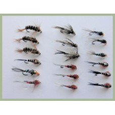 18 Barbless Goldhead Jig Flies - Black pearl, Brown pearl, Hares ear, Red