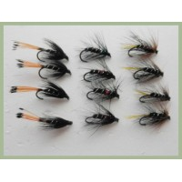 12 BARBLESS Wet Flies - Kate Mclaren, Bibio & Black Pennell