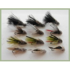 16 Small Hook Dry Flies - Adams, Griffiths, Caenis and Duster