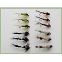 12 Hidden Weighted Nymphs - Olive, Pheasant Tail., Hares Ear, Black/Silver