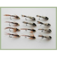 12 BARBLESS Goldhead Nymph - Hares Ear and Pheasant Tail