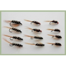 12 BARBLESS Diawl Bach Nymph Red and Natural