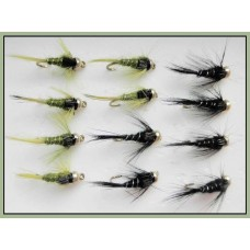 12 Goldhead Nymph - Olives  and Black Damsel