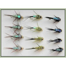 12 Goldhead Nymph, Evil Weevil - natural,olive,black