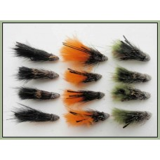 12 Marabou Muddler - Black,Olive & Orange