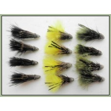 12 Marabou Muddler - Black,Olive & Yellow