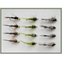 12 Goldhead Nymph - Hares Ear,Pheas Tail and Olives