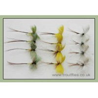 12 Drake Mayflies - Yellow, Green, Grey