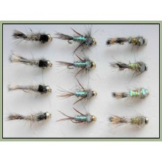 12 Goldhead Nymph - Hares Ears, 3 Varieties