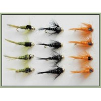 12 Goldhead Nymph - Silver Ribbed, Three Colours