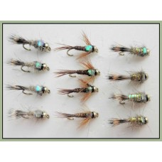 12 Goldhead Nymph - Flash Hares Ear/Pheasant Tail (3 types)