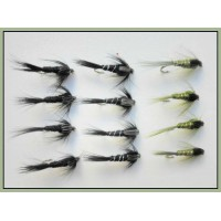 12 Nymph, Black Gnat, Olive & Black Silver Ribbed