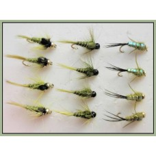 12 Goldhead Nymph - Olives, Three Varieties
