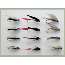 12 Wet Flies - Coachman. Butcher & Grey Monkey
