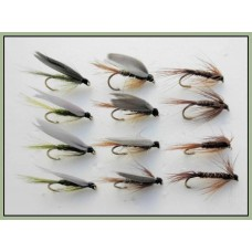 12 Wet Flies - Hares Ear,Pheasant tail & Medium Olive