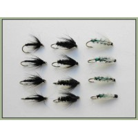 12 Wet Flies - Insect Green, Black & Peacock/Black Spider