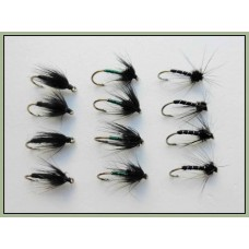 12 Wet Flies - Black Spider, Black Magic & Pearl Lurex