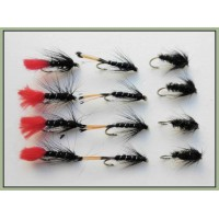 12 Wet Flies - Zulu, Black & Peacock & Black Pennell