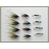 12 Wet Flies - Green Peter,Gorgeous George & Insect Green