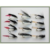 12 Wet Flies - Butcher, Teal Blue, Black Pennell