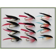 12 Wet Flies - Butchers, Gold, Bloody & Kingfisher
