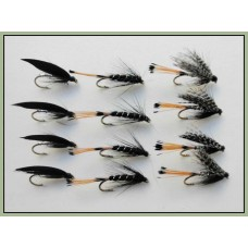12 Wet Flies - Peter Ross,Black Pennel, Magpie & Silver