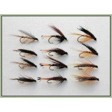 12 Wet Flies - Whickhams, Mallard & Claret, Dunkeld