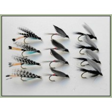 12 Wet Flies - Teal Blue, Iron Blue, Black Gnat