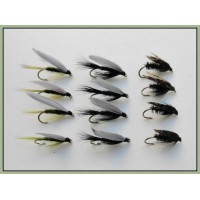 12 Wet Flies - Black Gnat,Alder & Medium Olive