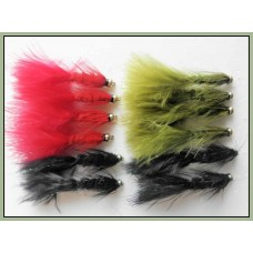 12 GH Woolly Buggers, Black Olive and Red