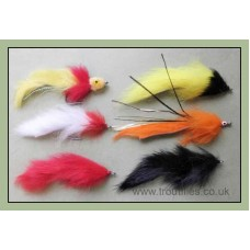 6 Mixed Pike Flies - Bunnys, Mad mullet, Pumpkin & Zonkers