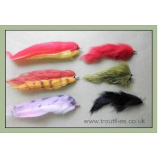 6 Mixed Pike Flies - 3 UW Zonkers & 3 Fry Imitation