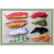 8 Pike Flies - Fry Imitations (x4), Zonkers (x1) , Pumpkin (x1)