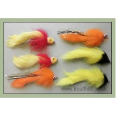 6 Mixed Pike Flies - Three Types