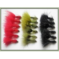 18 Goldhead Woolly Buggers - Red, Olive, Black