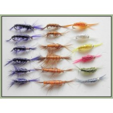18 Shrimp Trout Flies, Mixed Colours