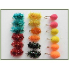 18 Egg Flies, Great colour range - unweighted