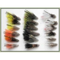 18 Coloured Marabou Muddler Trout Flies
